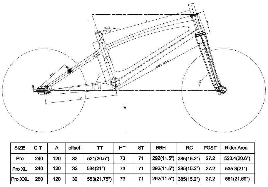 carbon bmx frame geometry and size table chart